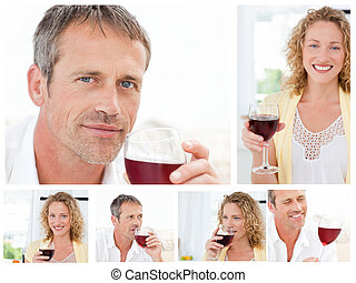 Collage of a man and a woman holding a glass of red wine in...