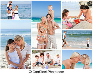 Collage of a family having fun and relaxing on a beach