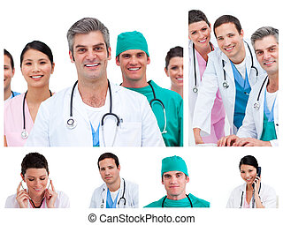 Collage of young doctors and surgeons