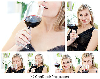 Collage of a beautiful woman holding a glass of red wine in...