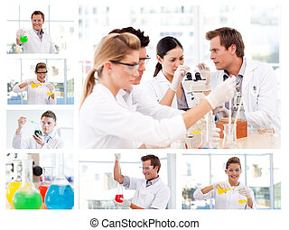 Collage of several scientists doing experiments in a lab