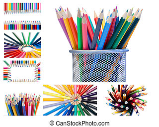 Collage of crayons