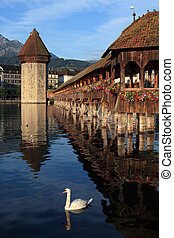 Lucerne Chapel bridge in Switzerland - The Chapel Bridge and...