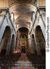 Ferrara cathedral - Ferrara, Italy. Cathedral interior....