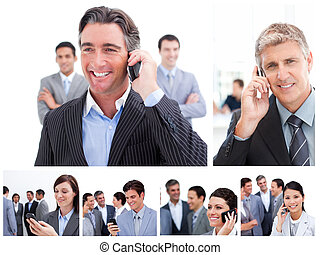 Collage of business people using mobile phones