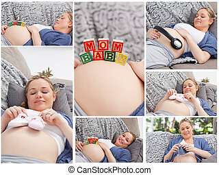 Collage of a woman during her pregnancy