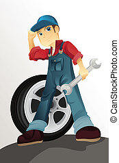 Auto mechanic - A vector illustration of an auto mechanic