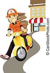 Pizza delivery man - A vector illustration of a pizza...