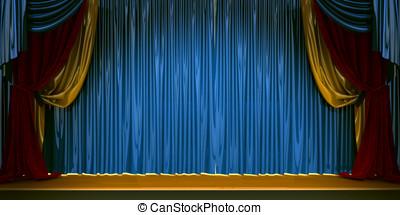 rideaux, ensemble, velours,  scène, théâtre, rouges,  3D
