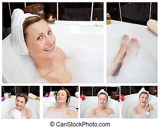 Collage of a woman in a bathtub