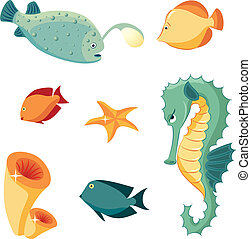 Sea inhabitants - Set of sea animals: seahorse, fishes,...