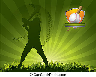 Baseball player strikes the ball with a stick