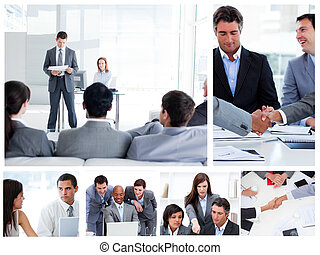 Collage of business people communicating