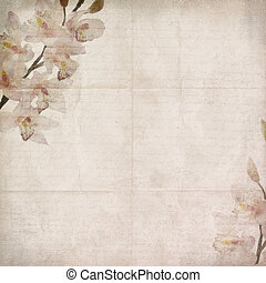 vintage floral background with orchids, text, space for text or image