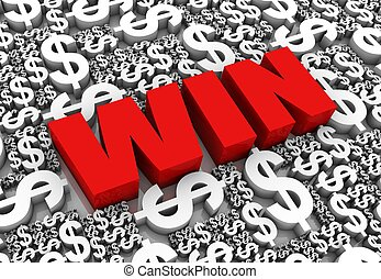 "Cash Prize - ""WIN"" 3D text surrounded by dollar currency..."