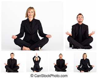 Collage of business people practicing yoga