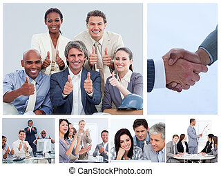 Collage of business people in several situations