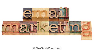 email marketing - isolated text in vintage wood printing...