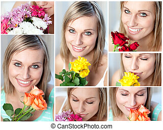 Collage of  a woman with several type of flowers