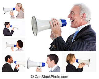 colagem, negócio, pessoas, gritando, megafone