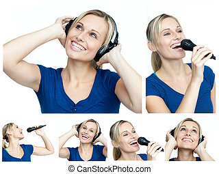 Collage of a young woman listening to music and singing
