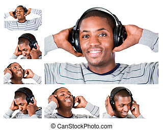 Collage of a young man listening to music
