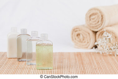 Massage oil and towels