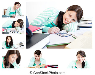 Collage of a young woman studying