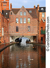 Birmingham, UK - Birmingham water canal network - famous Gas...