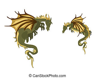 Pair of Mystical Dragons - Two mystical Dragons, hanging...