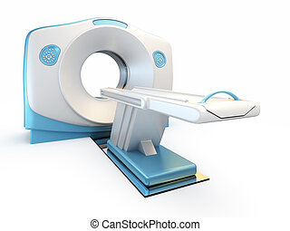 MRI scanner, isolated on white background. - A 3D...