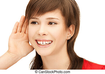 teenage girl listening gossip - bright picture of teenage...