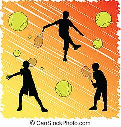 tennis kid silhouettes - vector