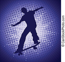 Skateboarder - Skater on the abstract blue background -...