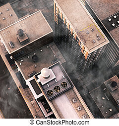 Urban Rooftops - 3d illustration of a top down urban rooftop...