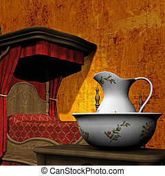 Four Poster Bedroom Illustration with a washstand