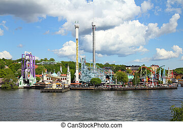 Theme park - Stockholm, Sweden. Amusement park at famous...