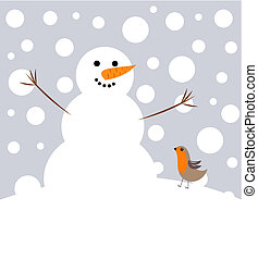 Christmas friendship - Happy Christmas snowman and robin...