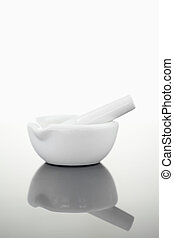 Mortar and pestle against a white background