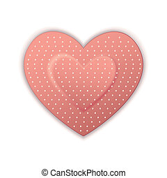 Heart Shape Bandage - illustration of heart shape bandage on...