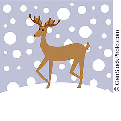 Reindeer in winter landscape Vector Christmas illustration