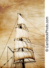 Sails on old paper - Tall ship sails in the wind, stylized...