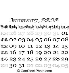 January 2012 monthly calendar