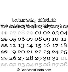 March 2012 monthly calendar