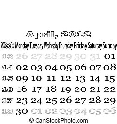 April 2012 monthly calendar