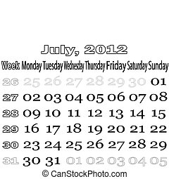 July 2012 monthly calendar