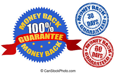 Money back labels and stamps, vector illustration