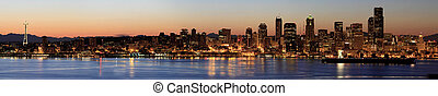 Seattle Skyline at Dawn along Puget Sound - Seattle Downtown...