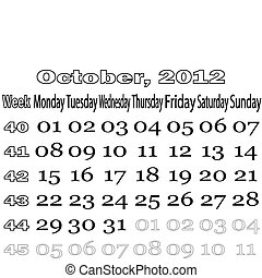 October 2012 monthly calendar