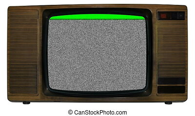 Old static television - Noise on old television with green...